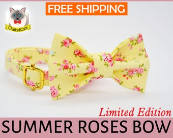 Cat bow tie // Summer Roses // Lemon Floral Cat Collar Bow Tie, safety cat collar, kitten collar, small dog bow tie, summer, cute, fancy