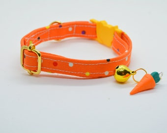 Orange cat collar (breakaway), kitten collar, carrot charm, collar with bell, autumn/fall cat colla
