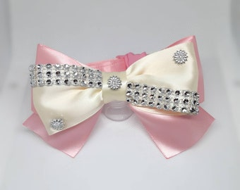 Luxury cat bow tie /Bling bow tie cat collars with large heart silver bell- two colour cat bow tie - slide on bowtie