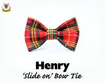 Cat bow tie 'Henry' tartan cat bow tie// cat collar bow tie,cat collar with bow,christmas bow tie,plaid bow tie,pet bow tie,bow tie for cats