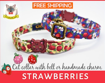 Cat collar// Strawberries //breakaway cat collar, safety kitten collar, yellow / pink / blue cat collar, floral cat collar, girl cat collar