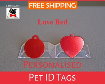 Cat ID tag - Love Red - Personalised pet tag with a bell, dog tag, pet id engraved - Cat and dog collar tag