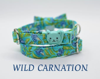 Cat collar 'Wild Carnation'/ floral cat collar, kitten collar,dog collar breakaway, green blue cat collar