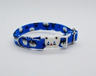Cat collar 'White Berry' (breakaway) organic cotton collar,cat collar bell,safety cat collar,cute,blue cat collar,kitten collar,Crafts4Cats