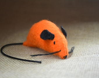 Set of TWO Catnip Mice -Orange Mouse Cat Toys - Felt Mouse Toy for Cats and Kittens - Fu Man Chu Catnip Mouse - Catnip Cat Toy Handmade
