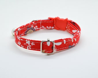 Cat collar 'Winter Forest' (breakaway) /cat collar with bell,kitten collar,holiday cat collar,christmas cat collar,red,Crafts4Cats