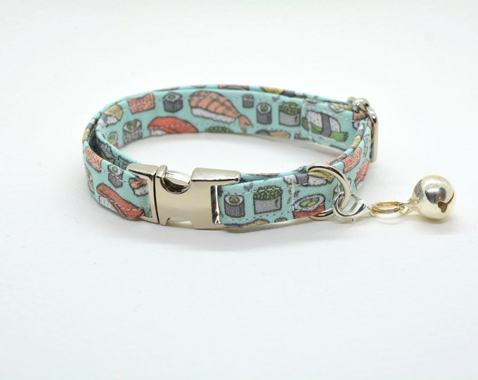 Featured listing image: Collar 'Sushi-Meshi' (non breakaway) / cat collar, kitten collar, cat collar with fish charm, cat collar with bell / CRAFTS4CATS