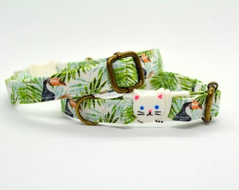 Cat bow tie//Toucans//pull on bow tie, breakaway cat collar, kitten collar, cat collar, tropical cat bow tie, dog bow tie,summer bow tie
