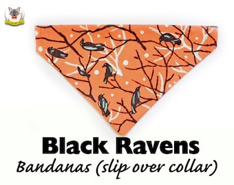 Bandana 'Black Ravens' (slip over collar), cat bandana, dog bandana, winter bandana, burnt orange automn fall bandana // CRAFTS4CATS