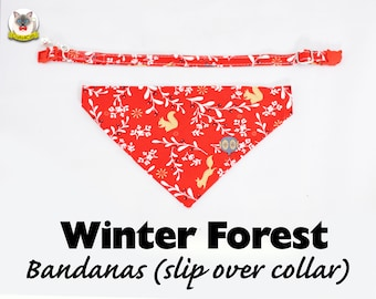 Cat collar + Bandana Set 'Winter Forest' (slip over collar)/cat dog bandana,easy fit cat bandana,winter bandana,Christmas bandana