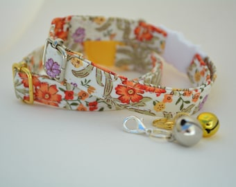 Cat Collar 'Spring Flowers' (breakaway) / Floral cat collar, cat kitten collar, dog collar,burnt orange cat collar, purple, Crafts4Cats