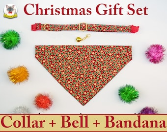 Christmas gifts: cat/dog collar with golden bell, cat bandana / Crafts4Cats