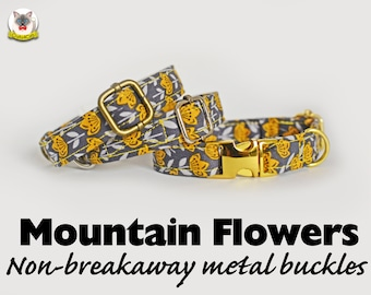 Collar 'Mountain Flowers' (non-breakaway) /burnt orange, cat,dog, grey gray orange flowers cat collar, floral cat collar, collier pour chat