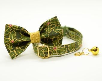 Cat collar + Bow Tie Set 'Christmas Holly' (breakaway or non breakaway)/ cat collar with bell, breakaway cat collar,,green cat collar