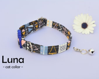Collar 'Luna' (breakaway) / organic cotton cat collar, kitten collar, cat collar with bell, spring handmade / CRAFTS4CATS