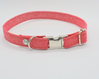 Glittery cat collar / small dog collar /  non-breakway cat or dog collar / breakaway cat collar