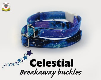 Collar 'Celestial' (breakaway) / purple, stars, celestial cat collar,kitten collar,galaxy cat collar, collier pour chat ,Crafts4Cats