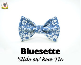 Cat bow tie 'Bluesette'/ blue cat collar bow,Novelty cat collar,kitten collar, dog collar,breakaway,non breakaway,floral collar, Crafts4Cats
