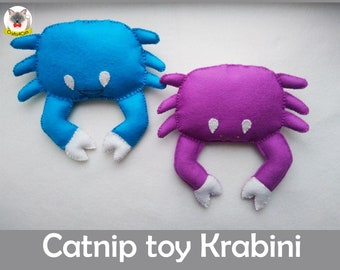 Catnip Crab cat toy / Krabini / natural wool cute catnip toy / catnip toy for cats/ felt catnip toy/catnip toy for