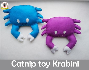Catnip cat toy / Crab cat toy / Krabini / natural wool cute catnip toy / catnip toy for cats/ felt catnip toy/catnip toy for