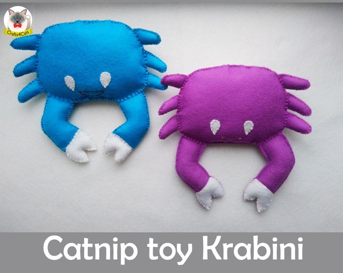 Featured listing image: Catnip Crab cat toy / Krabini / natural wool cute catnip toy / catnip toy for cats/ felt catnip toy/catnip toy for