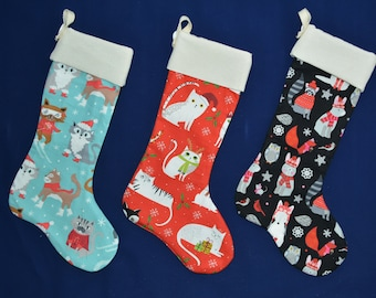 Christmas stocking / Large 15.5'' (40cm) cute cat stocking for cats, dogs, pets personalised / Crafts4Cats