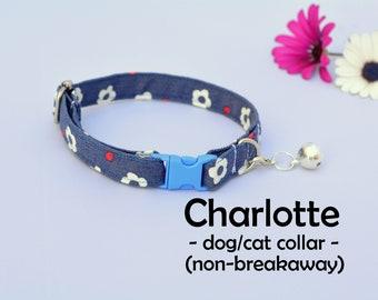 Dog / Cat Collar 'Charlotte' (non-breakaway) / flower cat collar, cat collar with bell, small dog collar with bell / CRAFTS4CATS