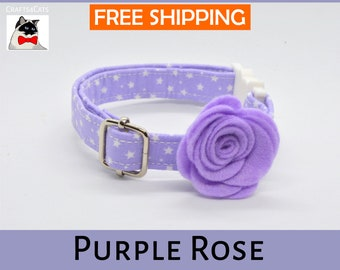Purple rose breakaway cat collar,star cat collar,kitten collar,galaxy cat collar,moon cat collar,cute,bell,Crafts4Cats