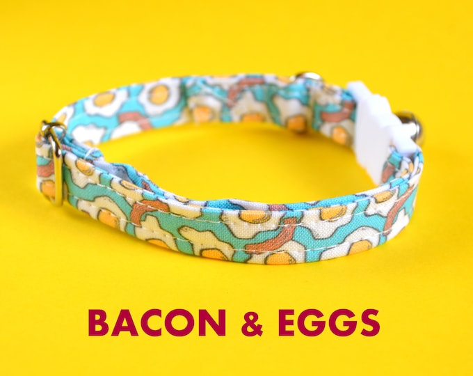 Featured listing image: Cat collar breakaway // Bacon & Eggs // Cat collar kitten collar with bell //cat collar safety// food cat collar