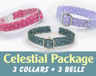 Christmas 'Celestial' package: three cat/kitten breakaway collars with silver bells each / Crafts4Cats