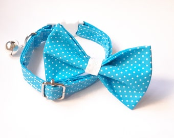 Bow tie 'Jaylin' + Cat collar (breakaway)/ Blue teal white polka dot cat collar with bell, matching bow tie, removable cat collar Christmas