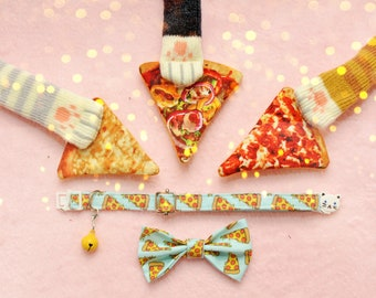 Pizza Gift Set: Cat collar +catnip toy +cat bow +socks / breakaway collar / breakaway cat collar fancy / Christmas