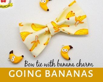 Cat bow tie//Going Bananas//pull on bow tie, breakaway cat collar, kitten collar, cat collar,tropical cat bow tie,dog bow tie,summer bow tie