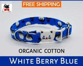 Breakaway cat collar 'White Berry' organic cotton collar,cat collar bell,safety cat collar,cute,blue cat collar,kitten collar,Crafts4Cats