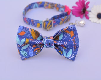 Collar and bow 'Amelia (breakaway) / floral cat collar, kitten collar, cat collar with bell, spring handmade / CRAFTS4CATS