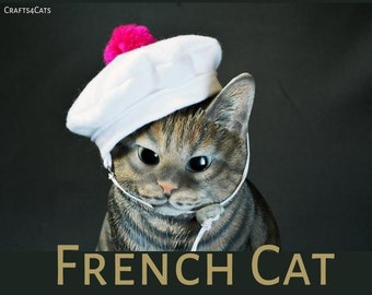French beret hat / Beret white hat for cat / hats for dogs / hat for pet / costumes for cat and dog