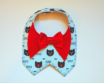 Cute bandana with red satin bow - Cat costume - dog bib - dog bandana - Valentine gift