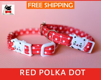 Red polka dot cat collar breakaway, kitten collar, cat collar with bell, cute cat collars