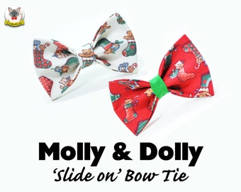 Cat bow tie 'Molly & Dolly' // Christmas cat collar bow tie,red bow tie,christmas bow tie,cute pet bow tie,bow tie for cats