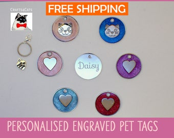 Pet tags you will Love, heart, cat face, circular pet tag, personalised pet tag engraved, cat collar, engraved pet tag, cute cat tag