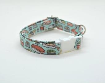 Collar 'Sushi-Meshi' (breakaway) / cat collar, kitten collar, cat collar with fish charm, cat collar with bell / CRAFTS4CATS