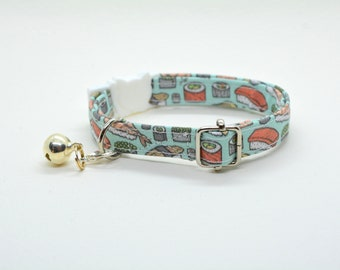 Collar 'Sushi-Meshi' (breakaway) / cat collar, kitten collar, cat collar with fish charm, cat collar with bell / CRAFTS4CATS