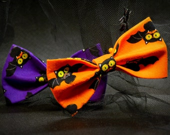 Cat bow tie//Halloween Bats/orange bow tie,purple bow tie, breakaway collar,cat collar,kitten collar