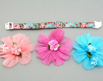 cat bow flower gift for cat kitten bow and collar for cat - floral cotton cat collar - organza flower bow for cat - cute cat bows