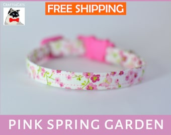 Spring kitten collar, cat collar breakaway, kitten collar, safety cat collar, floral cat collar, girl cat collar