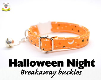 Cat collar 'Halloween Night' (breakaway), celestial orange cat collar, automn/fall dog collar, Crafts4Cats