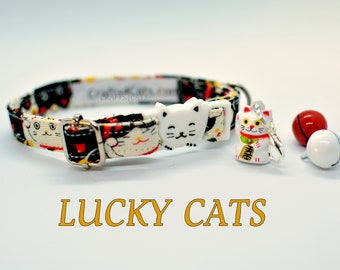 Lucky Cats collar / brekaway cat collar, kitten collar, dog collar breakaway, novelty collar Crafts4Cats