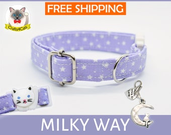 Breakaway cat collar 'Milky Way',violet cat collar, star cat collar,kitten collar,galaxy cat collar,moon cat collar,cute,bell,Crafts4Cats