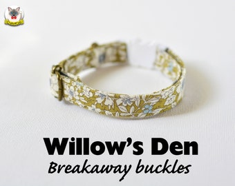 Collar 'Willow's Den' (breakaway) / Novelty cat collar, cat kitten collar, dog collar,floral collar, green cat collar, Crafts4Cats