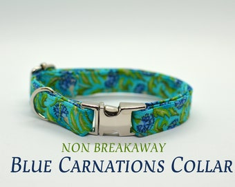 Carnation cat collar non breakaway // floral cat collar// kitten collar /dog collar breakaway/ green blue cat collar / metal